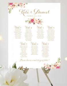 Wedding seating chart large poster romantic blooms vintage gold script personalized  create and you print also rh weddbook