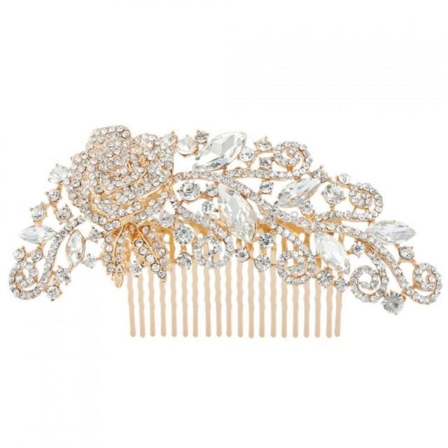 rose gold bridal comb - wedding hair comb - rose gold bridal