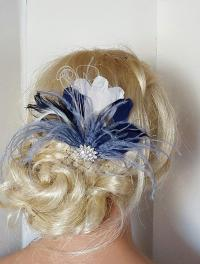 Navy Blue Hair Fascinator, Feather Accessories. Great ...