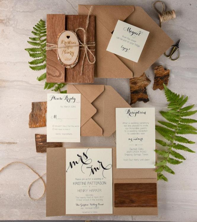 Rustic Wedding Invitation 20 Real
