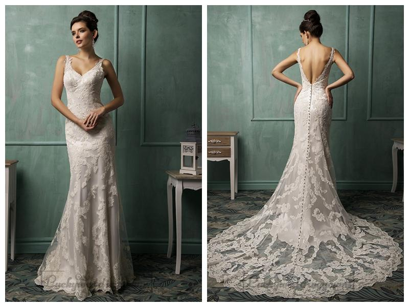 Straps V-neckline Lace Low Backless Wedding Dress #2460568