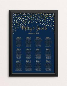 Wedding seating chart gold confetti navy blue minimalist table number nautical personalise printable digital pdf also rh ardbook