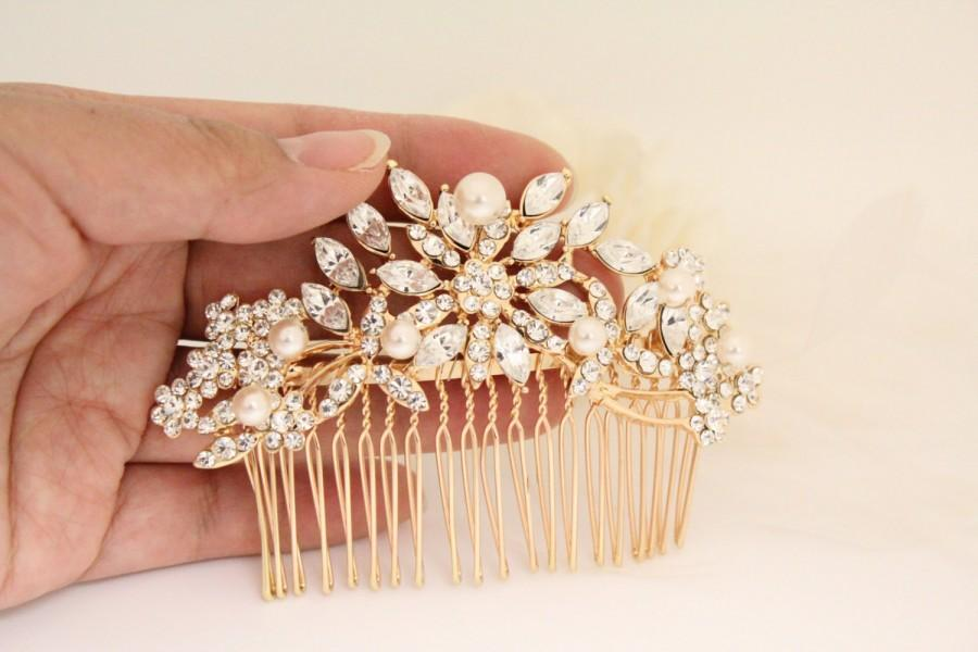 rose gold bridal headpiece wedding hair comb wedding hair accessory rose gold wedding hair piece wedding hair jewelry pearl hair comb bridal