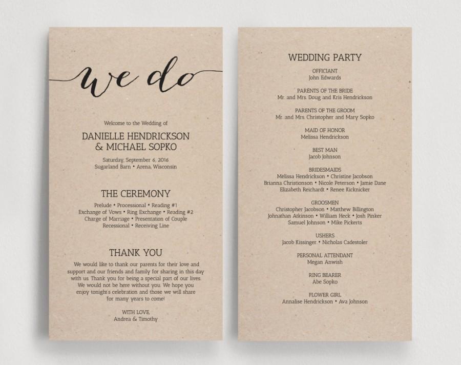 Wedding Programs Printable Template  Printable Program