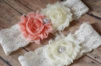 PEACH Wedding Garter Set - Wedding Garter, Ivory Bridal ...