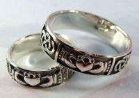 Wedding Band Set, Silver Claddagh Ring, Handmade Irish