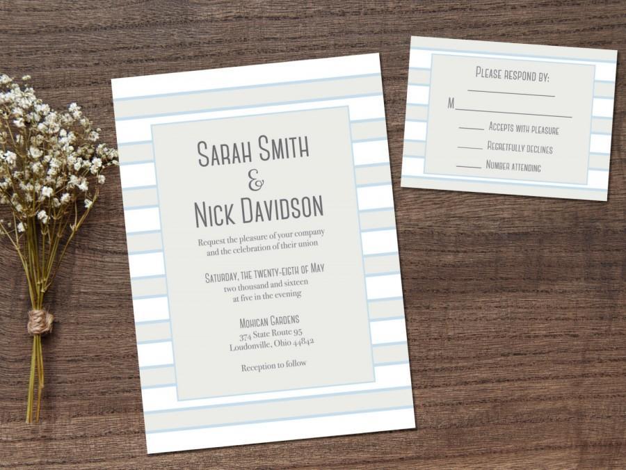 Wedding Invitations  Printable Wedding Invitations  Printable RSVP Card  Wedding Invitation