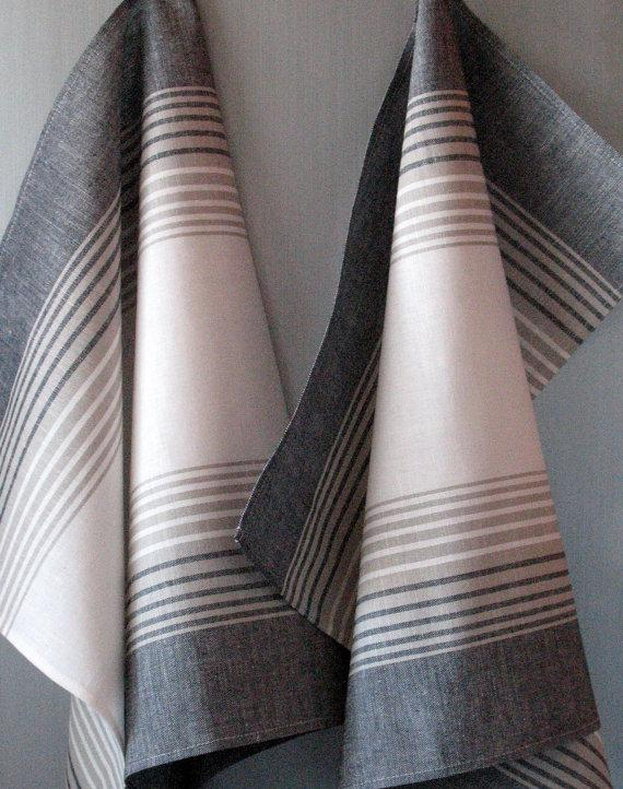 gray kitchen towels salvaged cabinets for sale tea towel set stripes striped linen hand dish white black of 6