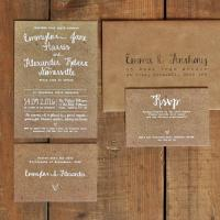 White Calligraphy Kraft Effect Rustic Wedding Invitation ...