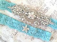 Beach Wedding Garter, Beach Garter Set, Starfish Wedding