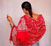 Red Shawl Pashmina, Beaded Shawl, Bridal Shawl, Evening ...