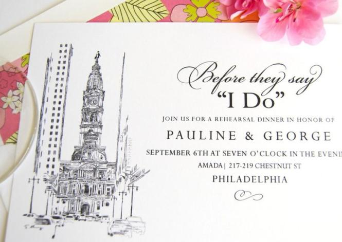 Philadelphia City Hall Skyline Rehearsal Dinner Invitations