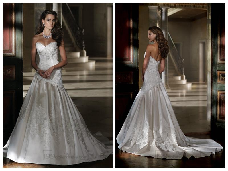 Strapless A-line Sweetheart Lace Applique Beaded Wedding