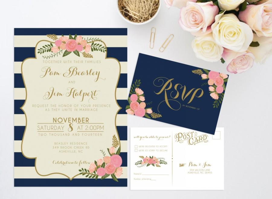 Printable Wedding Invitation Bundle  Stripe Floral Invite  Vintage Wedding Invitation