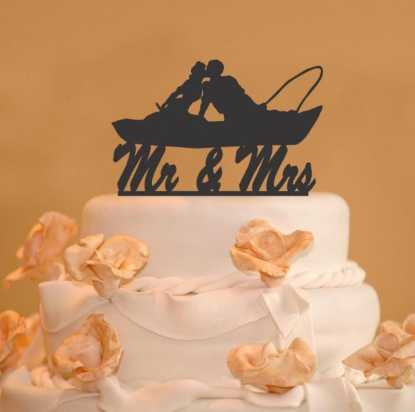 Fishing Couple In Boat Kissing - . And Wedding Cake
