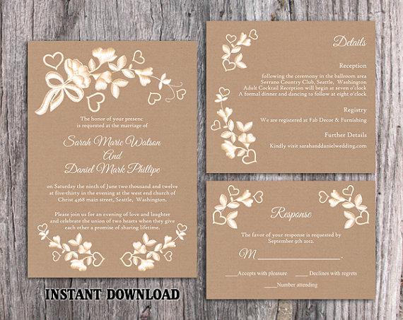 Diy Lace Wedding Invitation Template Set Editable Word File