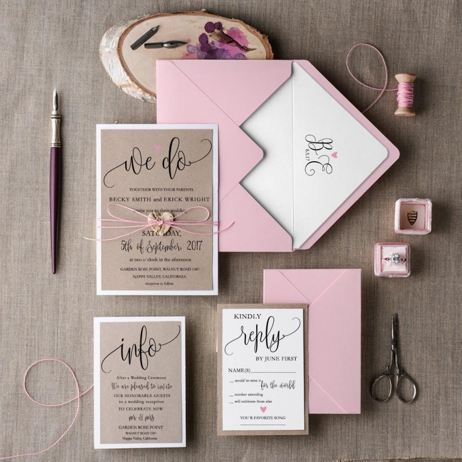 Rustic Wedding Invitation Set 20 Wedding Invitation Suite Pink Invitation Elegant Wedding