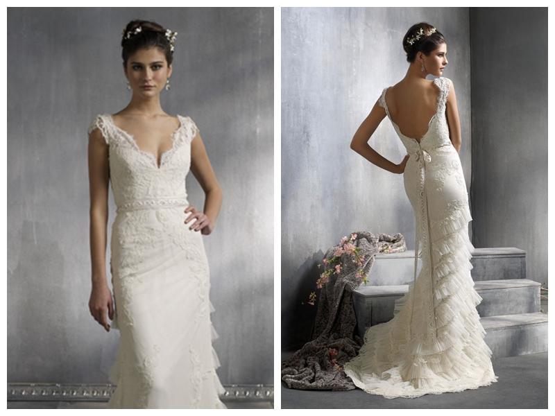 Lithe Style V-neck Sheath Lace Court Train Wedding Dresses