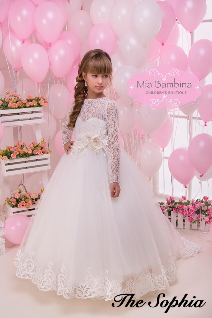 Lace Flower Girl Dress Long Sleeve First Communion Dress