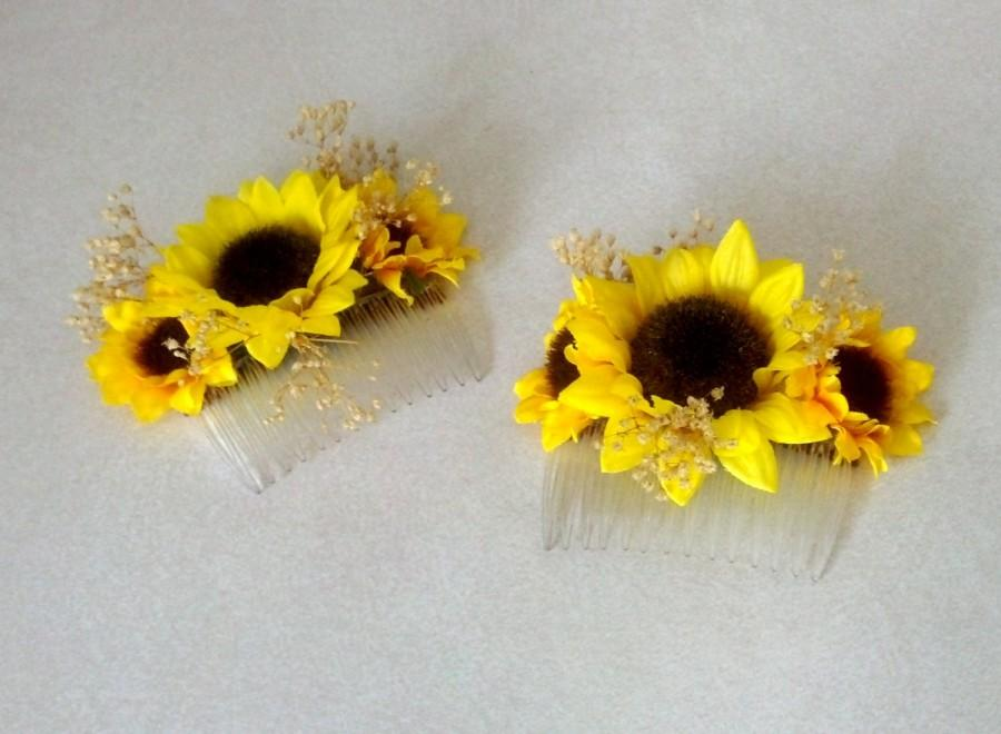 sunflower wedding hair accessory bridal hairpiece comb summer dried babys breath country western barn party yellow hair flower girl