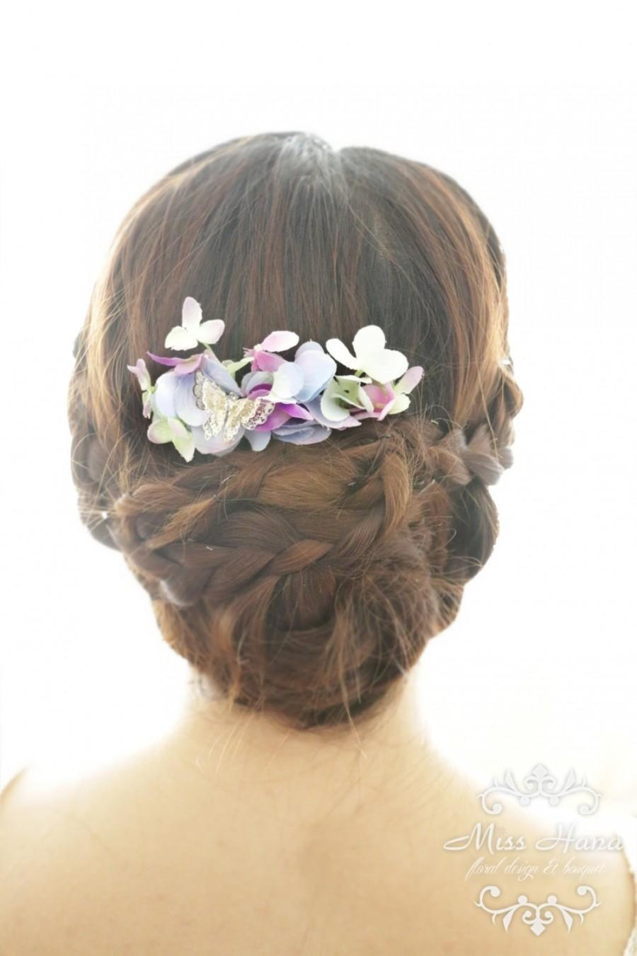 bridal hair accessory purple hydrangea with silver butterfly bridal hair comb hairpiece flower rustic vintage outdoor wedding woodland