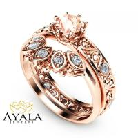 Filigree Design Morganite Wedding Ring Set In 14K Rose