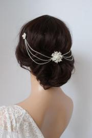 wedding headpiece with pearls -silver
