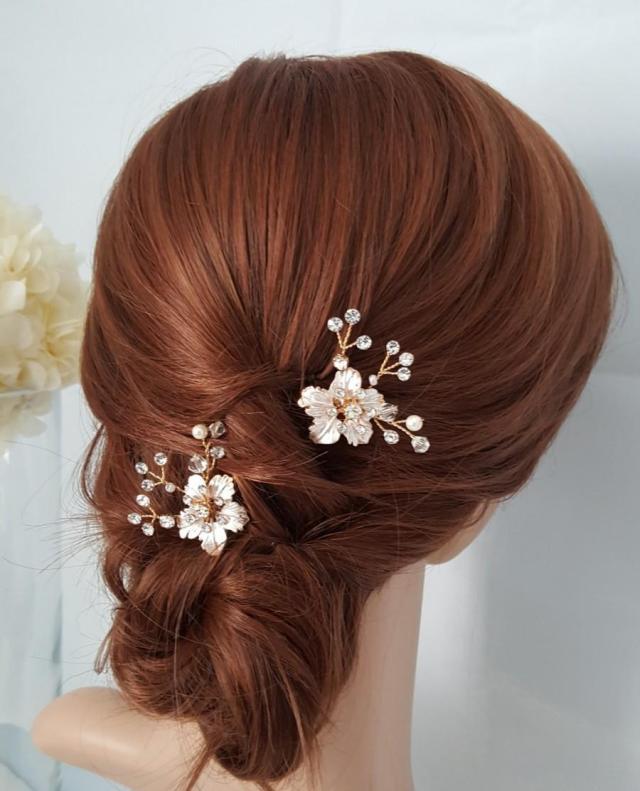 bridal comb rose gold wedding hair comb small hair comb