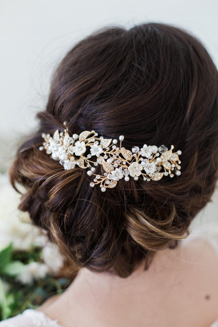 Gold Flower Headpiece Ivory Flower Hair Vine Hair Clips