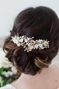 Gold Flower Headpiece, Ivory Flower Hair Vine, Hair Clips