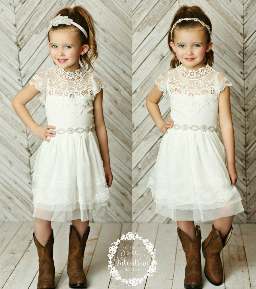 Stunning Flower Girls Dress,rustic Flower Girl Dress
