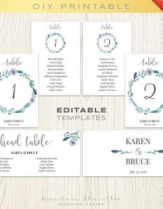 Floral wedding table numbers printable template seating chart also free celowithjo rh melowithjo