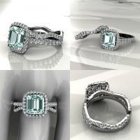 Aquamarine Halo Engagement Ring With Matching Band ...