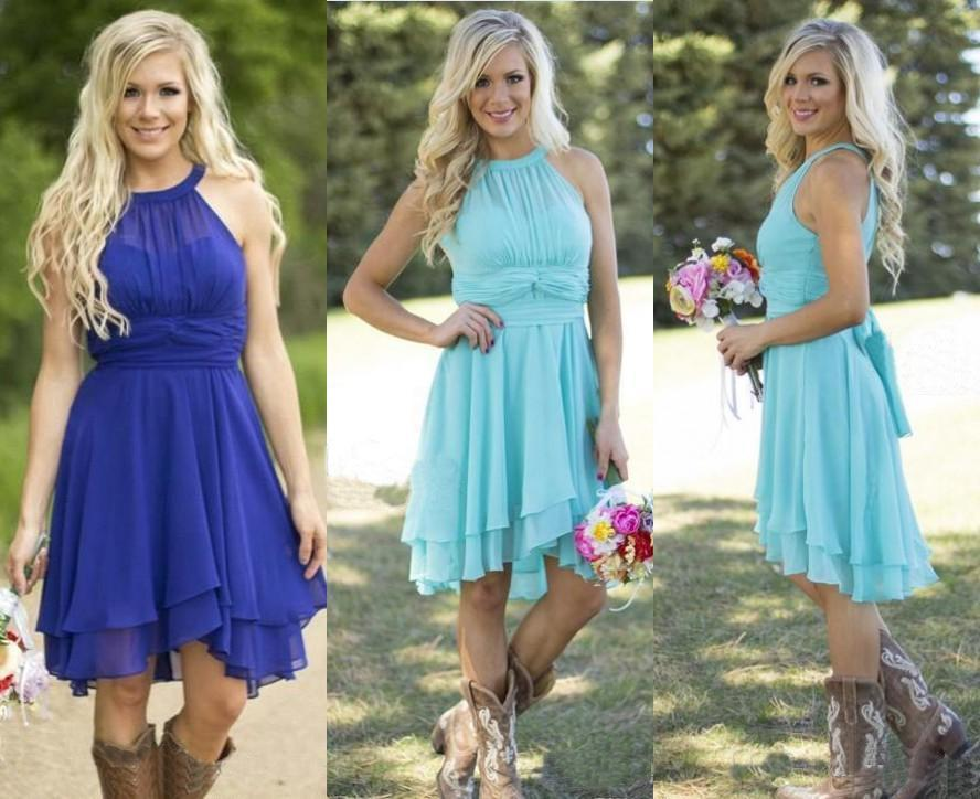 2016 Hot Sale Country Style Turquoise Bridesmaid Dresses