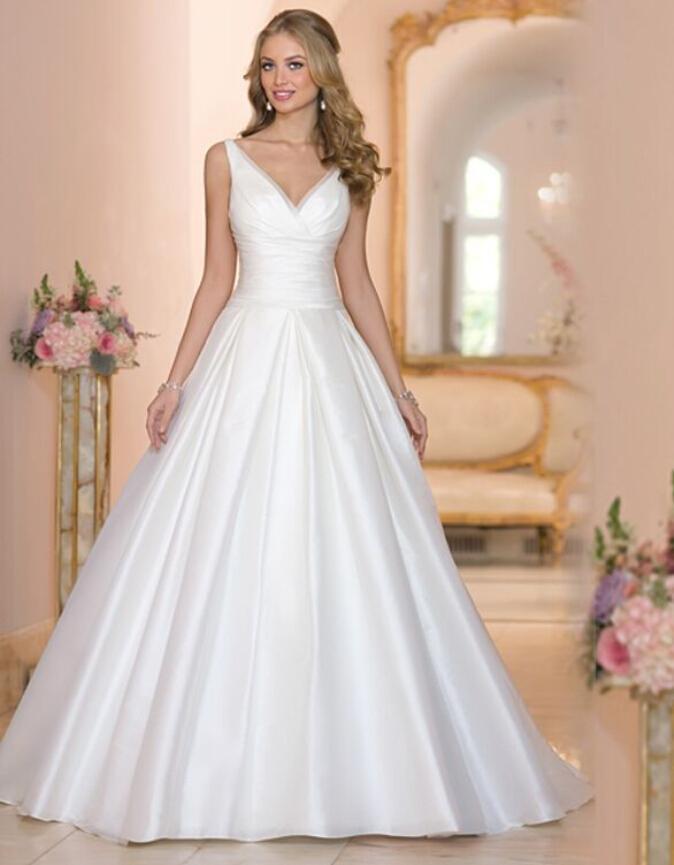 Designer New 2016 White Wedding Dresses VNeck Satin Cheap Chapel Train A Line Sleeveless Bridal
