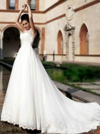 Romantic African Wedding Dresses Sheer Neck A-line White ...