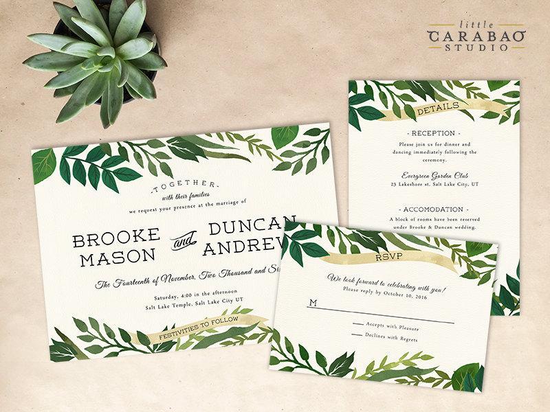 DIGITAL Wedding Invitation Set PRINTABLE Botanical Wedding Invitation Set  DIY Digital
