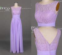 Lavender Purple Lace Long Prom Dress/Lavender Lace Flowy ...