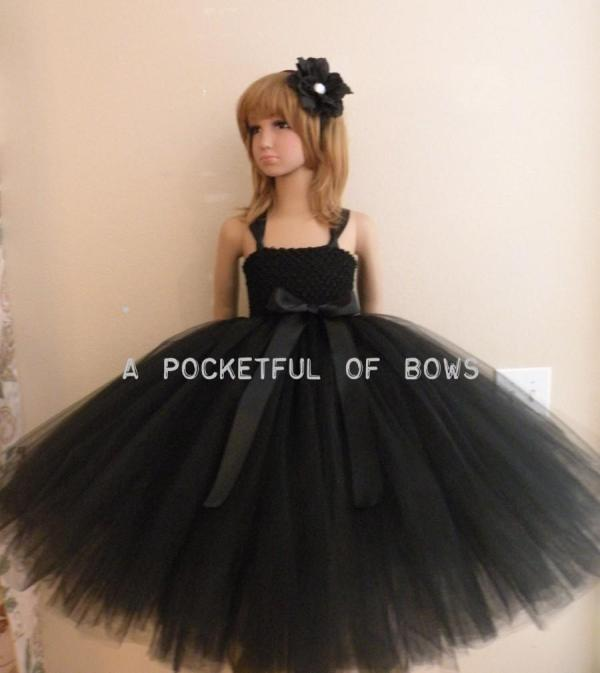 Black Flower Girl Tutu Dress Toddler Formal Dresses Long