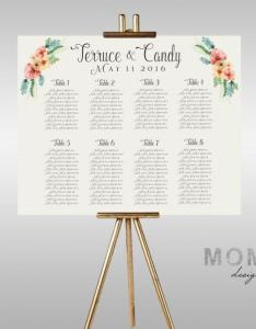 Printable wedding seating chart floral watercolor guest list the beth collection also ideas weddbook rh