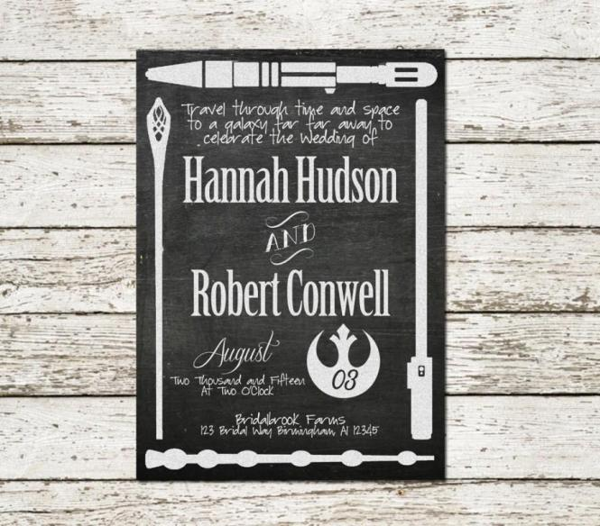 Printable Wedding Invitation Star Wars Lord Of The Rings