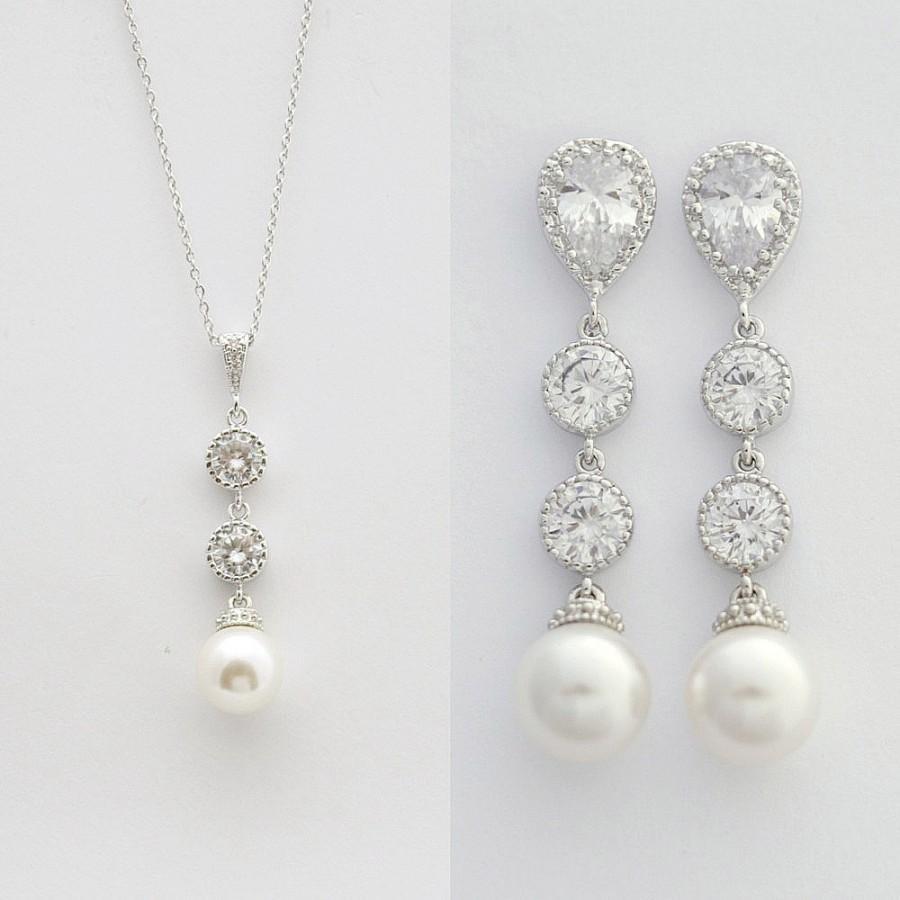 Bridal Pearl Jewelry Set Wedding Pearl Jewelry Bridal