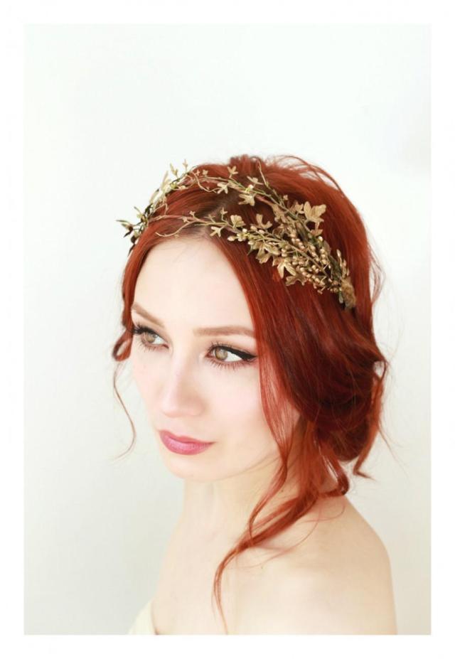 golden leaf crown, bridal hair adornment, grecian crown