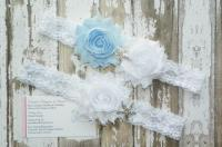 Beach Wedding Garters, Blue Wedding Garters, Starfish