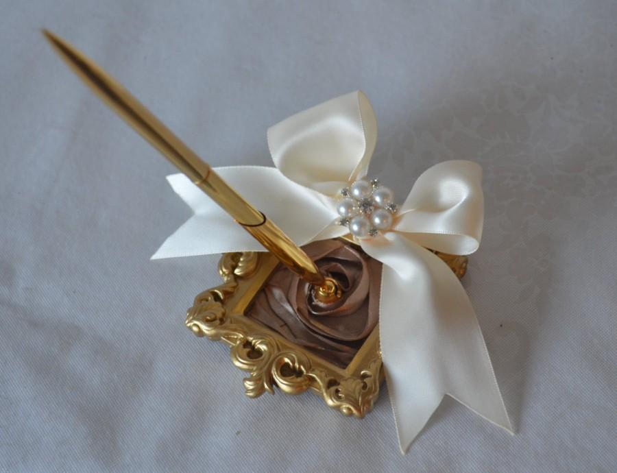 Champagne And Gold Wedding Pen