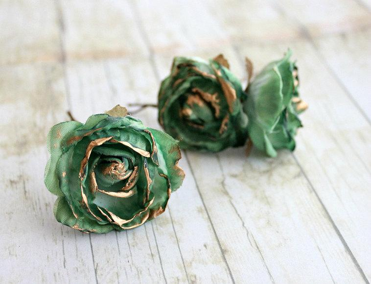 Emerald And Gold Rose Flower Hair PinsWeddings