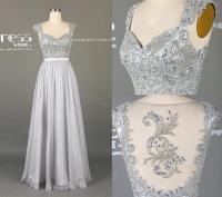 2016 Silver Grey Long Lace Prom Dress/A Line Chiffon Prom ...