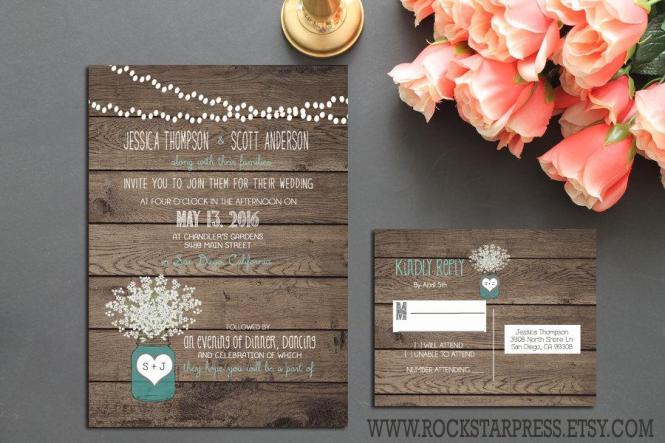 Rustic Mason Jar Wedding Invitation Suite Country