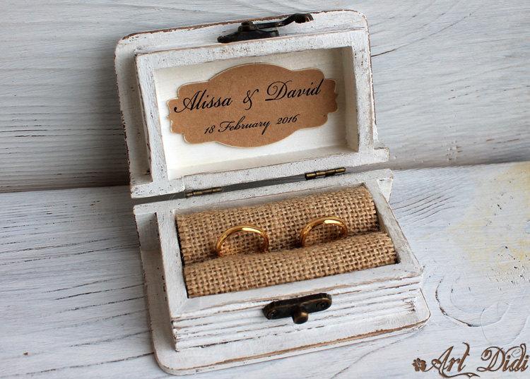 Wedding Ring Box, Ring Bearer Box, Jewelry Box, Wooden