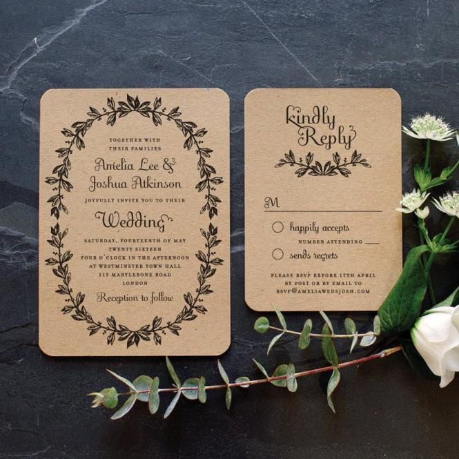 Simple Vintage Letterpress Wedding Invitation Design By Emma Jo Stationery With Flair